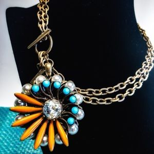 Cookie Lee Retro Flower Pendant and Chain